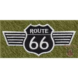 Parche bordado, route 66 alas blanco