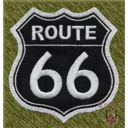 Parche bordado, route 66 fondo negro