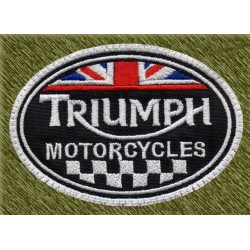 Parche bordado, triumph motorcycles con bandera