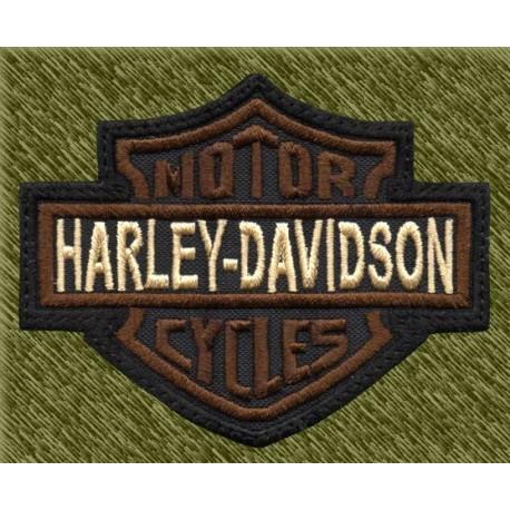 Parche bordado, harley logo marrón