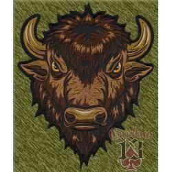parche bordado para espalda, cabeza de búfalo