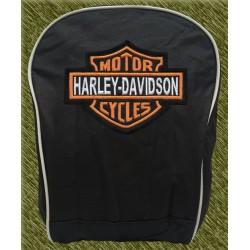 mochila negra bodada, harley logo