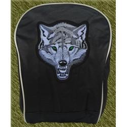 mochila negra bodada, cabeza de lobo
