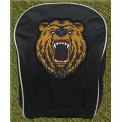 mochila negra bodada, cabeza de oso