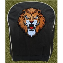mochila negra bodada, cabeza de león