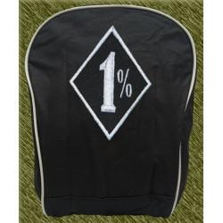 mochila negra bodada, 1 por ciento