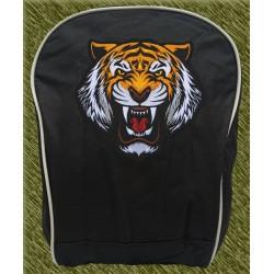 mochila negra bodada, cabeza de tigre