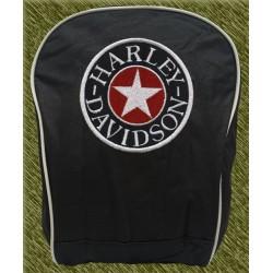 mochila negra bodada, harley estrella