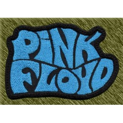 Parche bordado, pink floyd letras azules
