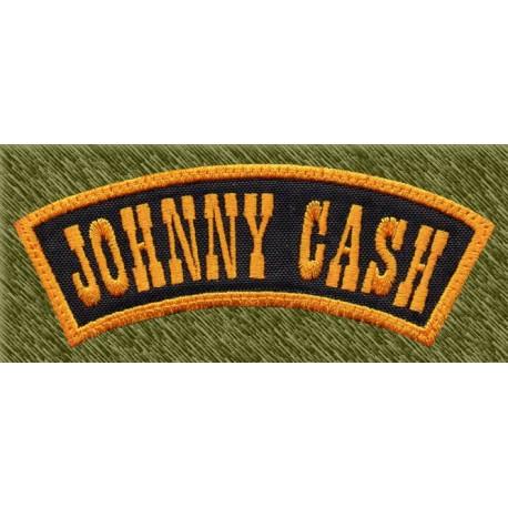 Parche bordado, johnny cash banda negra y amarilla