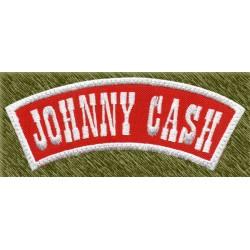 Parche bordado, johnny cash banda roja y blanca