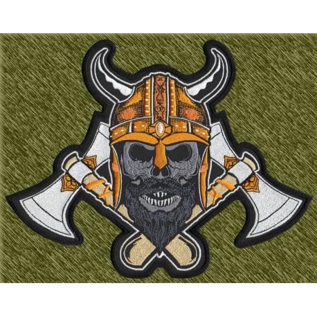 parche bordado para espalda, calavera vikinga