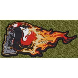 parche bordado para espalda, calavera con casco y fuego