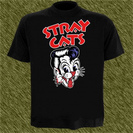 Camiseta negra, stray cats, clásica