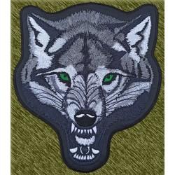 parche bordado para espalda, cabeza de lobo