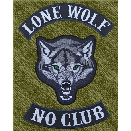 parches bordados para espalda, lobo lone wolf no club