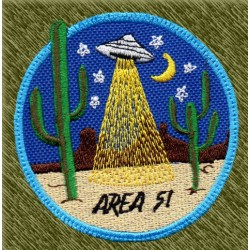 Parche bordado, area 51 desierto, fondo azul