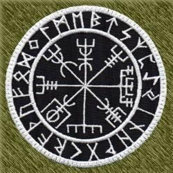 Parche bordado, brujula vikinga