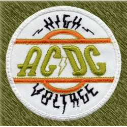 Parche bordado, ac-dc, high voltage