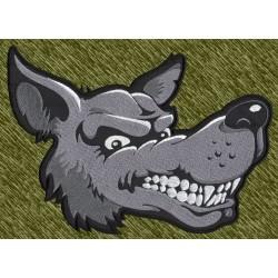 parche bordado para espalda, cabeza de lobo de lado
