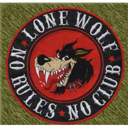 parche bordado para espalda, lobo, lone wolf, no rules, no club