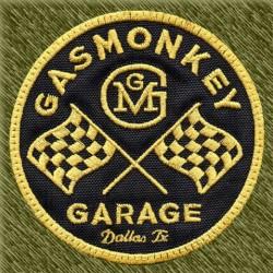 Parche bordado, gas monkey banderas, dorado