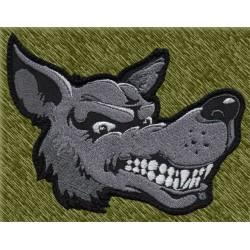 Parche bordado, cabeza de lobo de lado