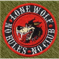 Parche bordado, lobo lone wolf, no club, no rules