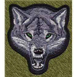 Parche bordado, cabeza de lobo