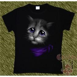 Camiseta Dark13 mujer, gato triste