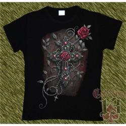 Camiseta Dark13 mujer, cruz con rosas