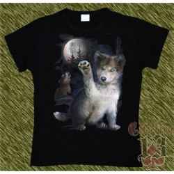 Camiseta Dark13 mujer, lobo jugando