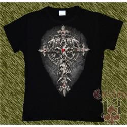 Camiseta Dark13 mujer, cruz con gárgolas