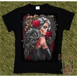 Camiseta Dark13 mujer, catrina con gato