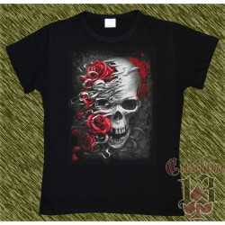 Camiseta Dark13 mujer, calavera con rosas