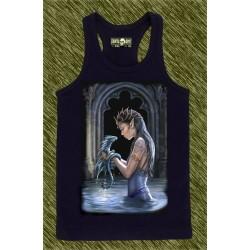 camiseta negra de tirantes, dragón de agua