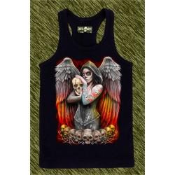 camiseta negra de tirantes, angel catrina tatuada