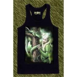 camiseta negra de tirantes, dragón del árbol