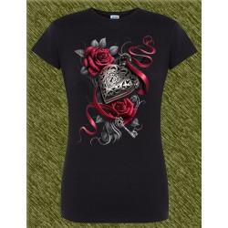 Camiseta Dark13 mujer, corazón con llave
