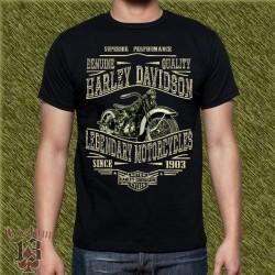 Camiseta negra, harley davidson, genuine motorcycles