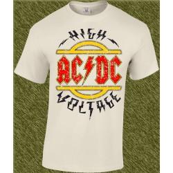 Camiseta beig, ac dc, high voltage