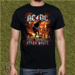 Camiseta negra, ac dc, hell bells, angus