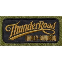 Parche bordado, thunder road, harley daviidson, marrón