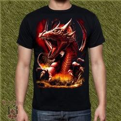 Camiseta dark13, cabeza dragon de fuego