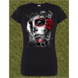 Camiseta negra de mujer, harley catrina flor roja