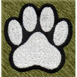 Parche bordado, huella perro mini