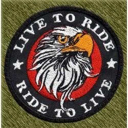 Parche bordado, aguila redondo, ride to live, live to ride