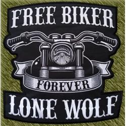 parche bordado para espalda, forever, moto frontal con rockers