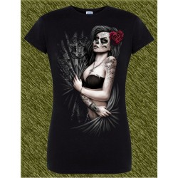 Camiseta negra de mujer, catrina tatuada