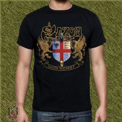 Camiseta negra, saxon, lion hearth